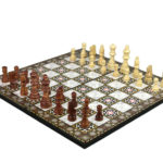 "Classic Range Flat Chess Set With Pieces and Storage Box ""Mother of Pearl""- 17″"