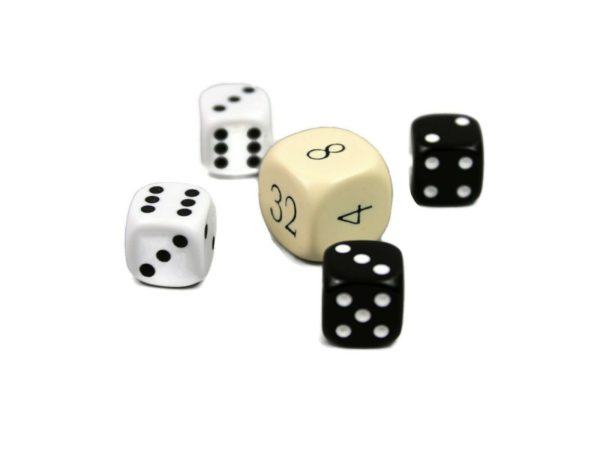 dice set with doubling dice ivory