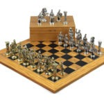 Metal Range Chess Set Olive & Black Anegre Board 18″ Roman Metal Chess Pieces 3.8″
