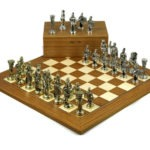 Metal Range Chess Set Teak & Maple Board 18″ with Roman Metal Chess Pieces 3.8″