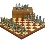 Metal Range Chess Set Mahogany & Maple Board 20″ With Roman Metal Chess Pieces 3.8″