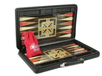 Leather Range Helena Briefcase Backgammon Set 20″