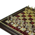 Metal Range Wooden Framed Chess Set Ruby Red 13″ – 303R