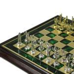 Metal Range Wooden Framed Chess Set Emerald Green 13″ – 303G