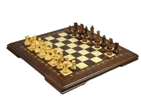 walnut wood helena chess set with staunton chess pieces