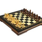 "Premium Range Helena Chess Set Wooden Weighted Pieces ""Charcoal Black""-19″ 2618W"