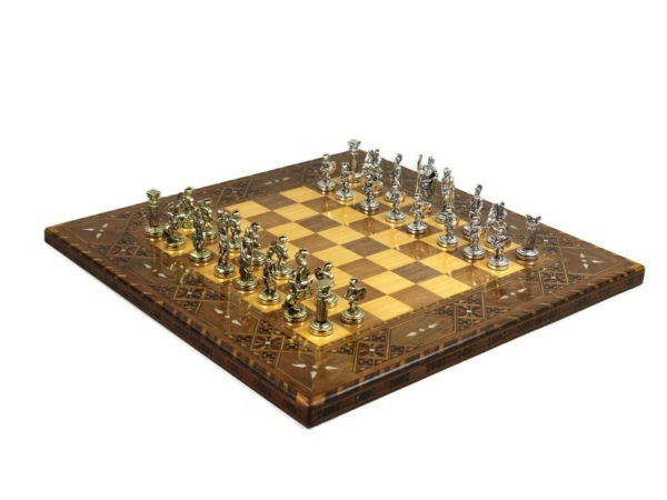 lineage chess set metal roman chess pieces