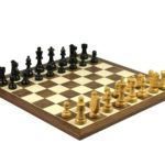 Economy Range Wooden Chess Set Walnut Board 16″ Weighted Ebonised French Knight Pieces 3″