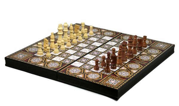 chess and backgammon board yengiun mother of pearl