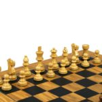 Executive Range Wooden Chess Set Olive Board 18″ Weighted Sheesham French Knight Pieces 3″