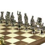 Metal Range Chess Set Walnut & Maple Board 18″ with Roman Metal Chess Pieces 3.8″
