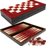 "Classic Range Backgammon Set ""Red Elegance""- 20″"