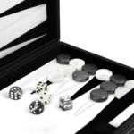 "Leather Range Backgammon Set ""Graphene Grey""- 15″"