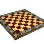 Premium Range Rose Chess Board With Wooden German Stuanton Chess Pieces 3″ – CRWML17″