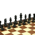Economy Range Wooden Chess Set Mahogany Board 16″ Weighted Ebonised German Staunton Pieces 3″