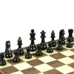 Economy Range Wooden Chess Set Walnut Board 16″ Weighted Ebonised German Staunton Pieces 3″