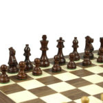 Economy Range Wooden Chess Set Walnut Board 16″ Weighted Sheesham French Knight Pieces 3″