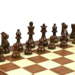 Executive Range Wooden Chess Set Mahogany Board 16″ Weighted French Knight Pieces 3″