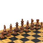 Executive Range Wooden Chess Set Olive Board 18″ Weighted French Knight Pieces