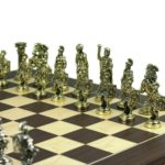 "Executive Range Wooden Chess Set ""Macassar & Maple"" Board Metal Pieces"