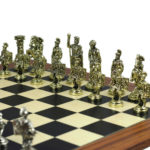 Metal Range Chess Set Palisander & Maple Board 20″ With Roman Metal Chess 3.8″