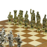 Executive Range Chess Set Teak & Maple Board with Metal Chess Pieces 18″