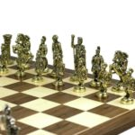 Executive Range Chess Set Walnut & Maple Board With Metal Chess 20″