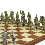 Metal Range Chess Set Mahogany & Maple Board 18″ With Roman Metal Chess Pieces 3.8″