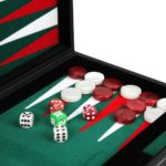 "Leather Range Backgammon Set ""Malachite Green"" – 15″"