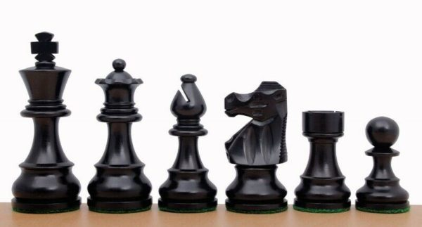 ebonised french lardy staunton chess pieces