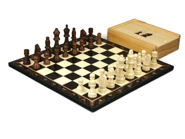 walnut chess with chess pieces and storage box