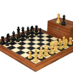 Executive Range Wooden Chess Set Palisander Board 20″ Weighted Ebonised German Staunton Pieces 3.75″