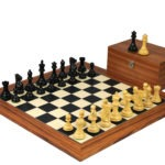 Executive Range Wooden Chess Set Palisander Board 20″ Weighted Ebonised Professional Staunton Pieces 3.75″