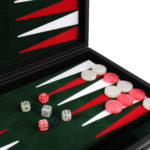 "Leather Range Backgammon Set ""Malachite Green"" – 18″"