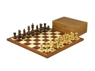 Economy Range Wooden Chess Set Mahogany Board 16″ Weighted French Knight Pieces 3″