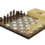 "Classic Range Wooden Chess Set With Pieces And Storage Box ""Mother of Pearl""- 14″"