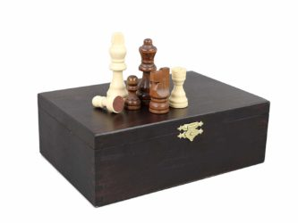 "Chess Pieces With Storage Box ""Wooden"""
