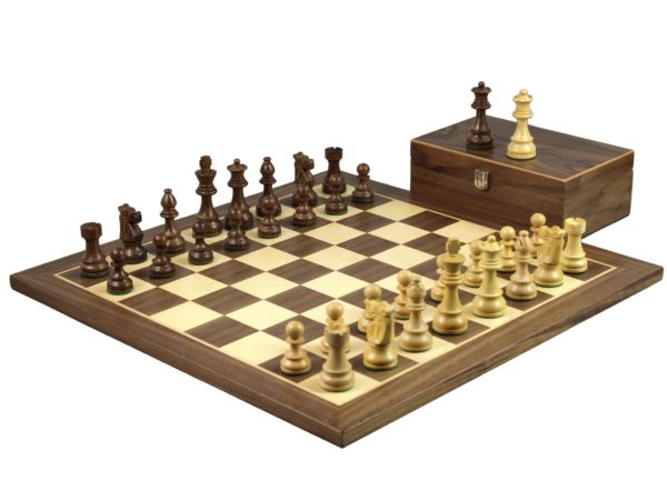 walnut staunton chess set with french lardy sheesham chess pieces