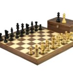 Master Range Wooden Chess Set Walnut Board 21″ Weighted Ebonised Staunton French Knight Pieces 3.75″