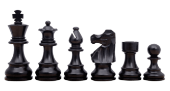 French Lardy Staunton Ebonised Boxwood 3.75″ Chess Pieces With Storage Box
