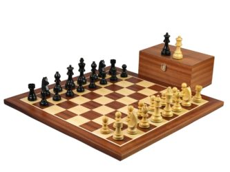 Master Range Wooden Chess Set Mahogany Board 21″ Weighted Ebonised German Staunton 3.75″