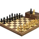Master Range Wooden Chess Set Walnut Board 21″ Weighted Ebonised Staunton German Staunton Pieces 3.75″