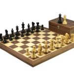 Master Range Wooden Chess Set Walnut Board 21″ Weighted Ebonised Atlantic Series Classic Staunton Pieces 3.75″