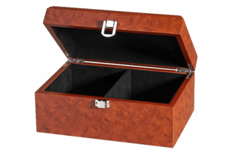 Chess Box Large Burl Root Wood With Metal Clasp 4.25″