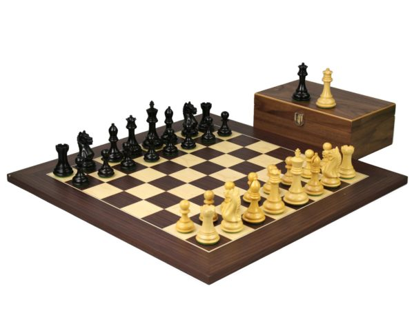 staunton chess set macassar board with fierce knight ebonised chess pieces