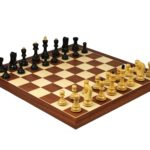 Executive Range Wooden Chess Set Mahogany Board 20″ Weighted Ebonised  Zagreb Staunton Pieces 3.75″
