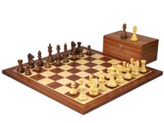 Master Range Wooden Chess Set Mahogany Board 21″ Weighted Sheesham Staunton Fierce Knight Pieces 3.75″