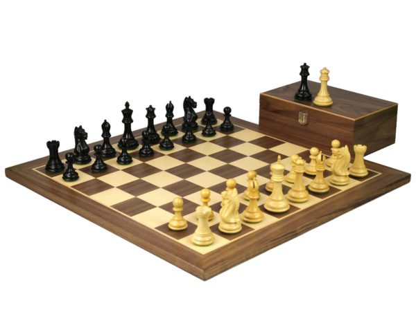 walnut staunton chess set with ebonised fierce knight chess pieces