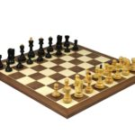 Executive Range Wooden Chess Set Walnut Board 20″ Weighted Ebonised Zagreb Staunton Pieces 3.75″