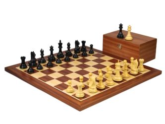 Executive Range Wooden Chess Set Mahogany Board 20″ Weighted Ebonised Staunton Fierce Knight Pieces 3.75″